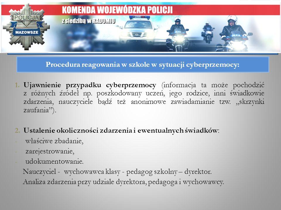 Procedura reagowania w szkole w sytuacji cyberprzemocy: 1. Ujawnienie przypadku cyberprzemocy (informacja ta może pochodzić z różnych źródeł np. poszk