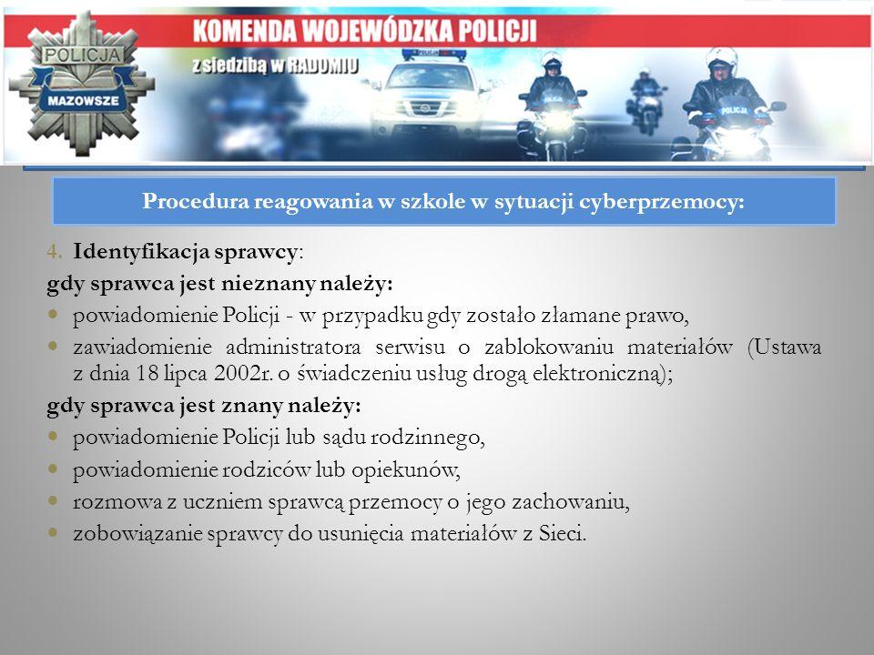 Procedura reagowania w szkole w sytuacji cyberprzemocy: 4. Identyfikacja sprawcy: gdy sprawca jest nieznany należy: powiadomienie Policji - w przypadk