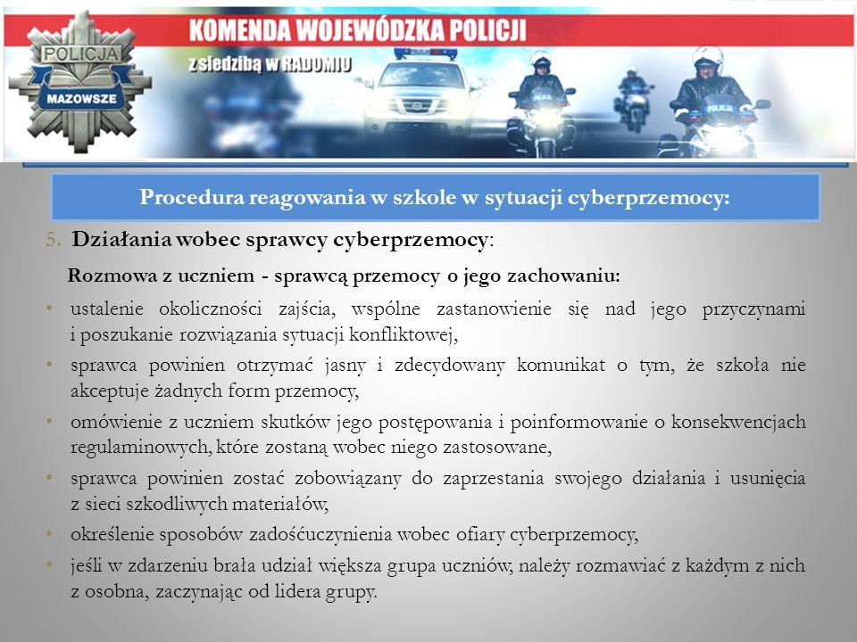 5. Działania wobec sprawcy cyberprzemocy: Rozmowa z uczniem - sprawcą przemocy o jego zachowaniu: ustalenie okoliczności zajścia, wspólne zastanowieni