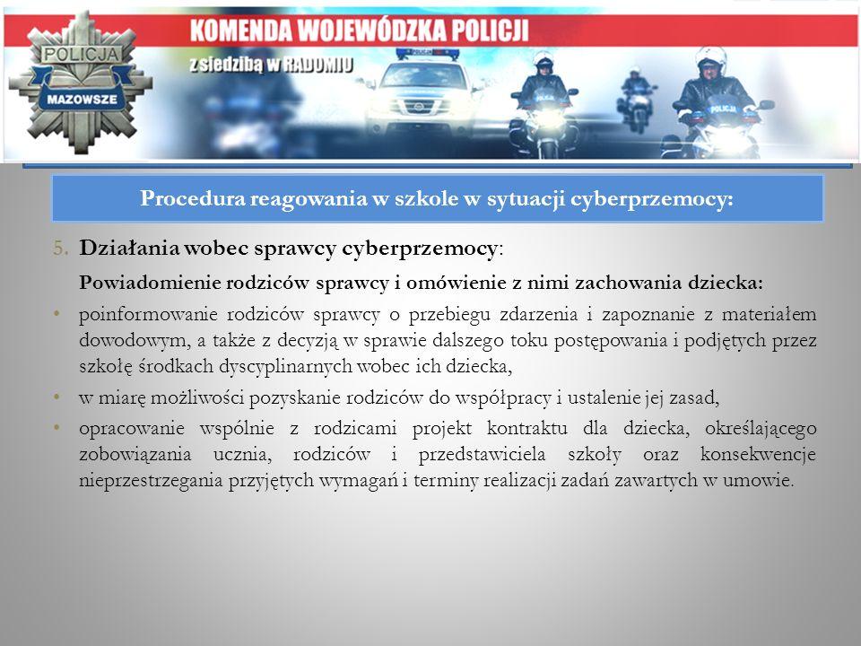 5. Działania wobec sprawcy cyberprzemocy: Powiadomienie rodziców sprawcy i omówienie z nimi zachowania dziecka: poinformowanie rodziców sprawcy o prze