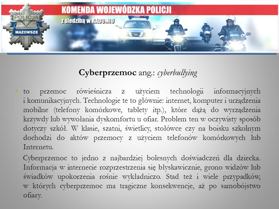 Cyberprzemoc ang.: cyberbullying to przemoc rówieśnicza z użyciem technologii informacyjnych i komunikacyjnych. Technologie te to głównie: internet, k