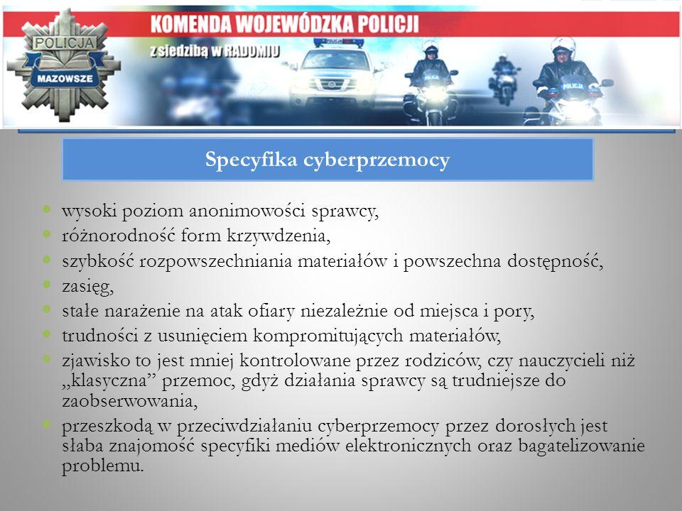 Specyfika cyberprzemocy wysoki poziom anonimowości sprawcy, różnorodność form krzywdzenia, szybkość rozpowszechniania materiałów i powszechna dostępno