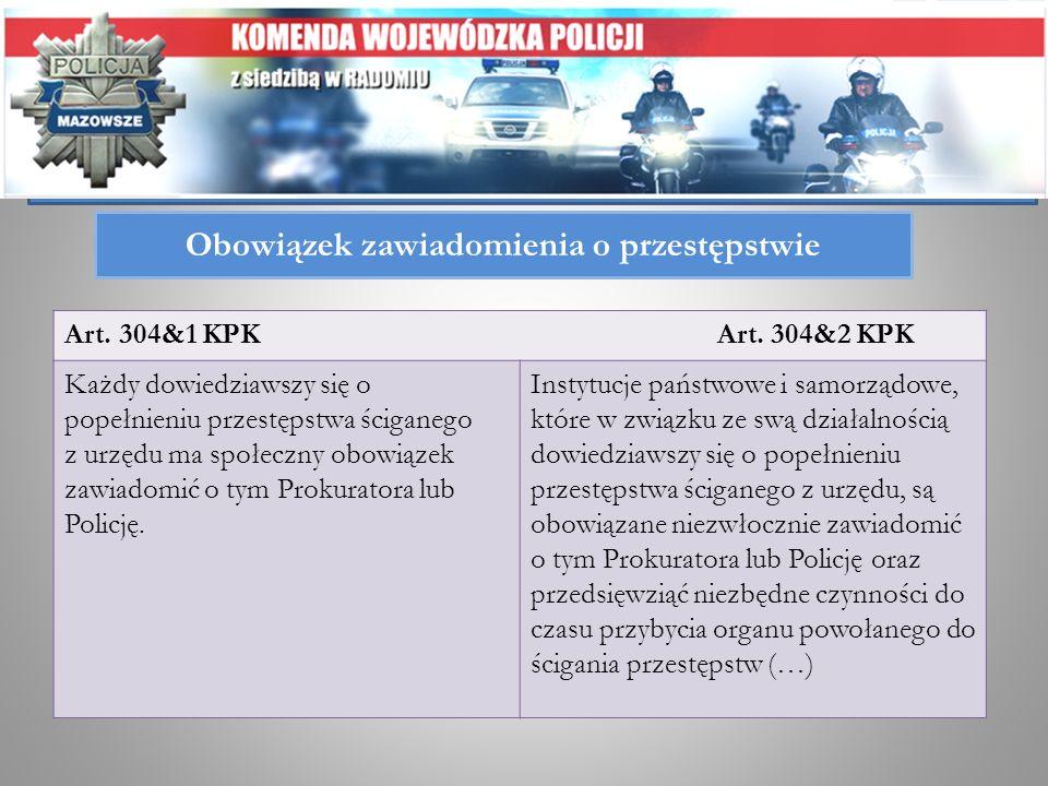 Obowiązek zawiadomienia o przestępstwie Art. 304&1 KPK Art. 304&2 KPK Każdy dowiedziawszy się o popełnieniu przestępstwa ściganego z urzędu ma społecz