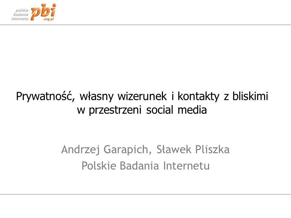 Prywatność, własny wizerunek i kontakty z bliskimi w przestrzeni social media Andrzej Garapich, Sławek Pliszka Polskie Badania Internetu