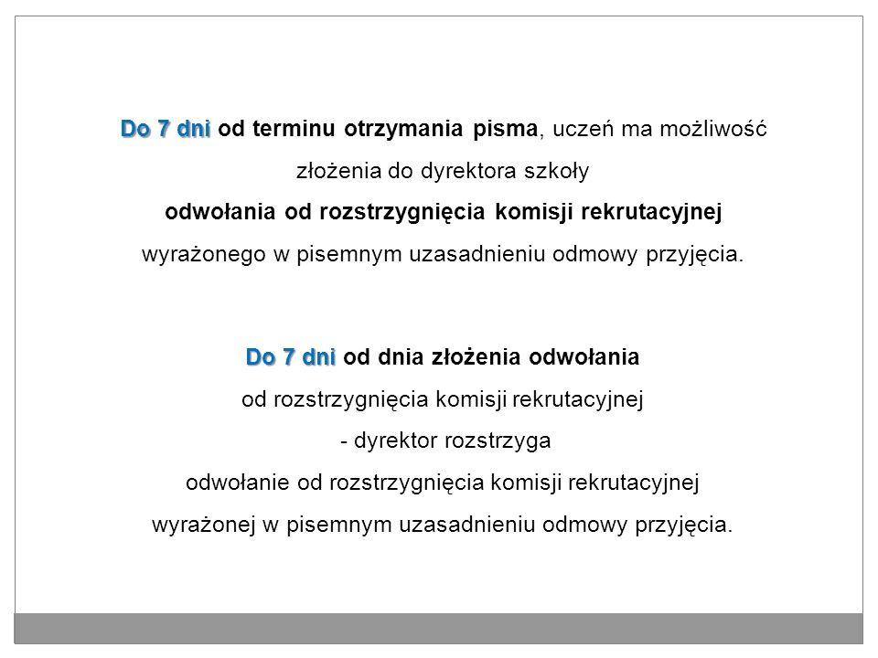 Do 7 dni Do 7 dni od dnia złożenia odwołania od rozstrzygnięcia komisji rekrutacyjnej - dyrektor rozstrzyga odwołanie od rozstrzygnięcia komisji rekru