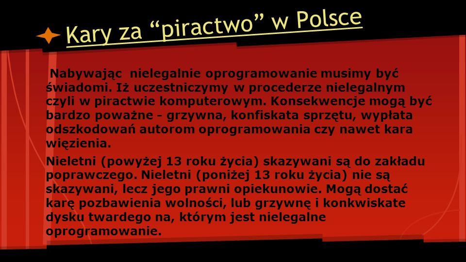 Kary za piractwo w Polsce Nabywając nielegalnie oprogramowanie musimy być świadomi. Iż uczestniczymy w procederze nielegalnym czyli w piractwie komput