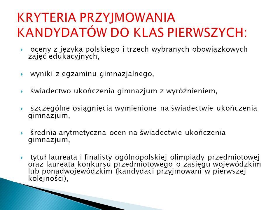 oceny z języka polskiego i trzech wybranych obowiązkowych zajęć edukacyjnych, wyniki z egzaminu gimnazjalnego, świadectwo ukończenia gimnazjum z wyróż