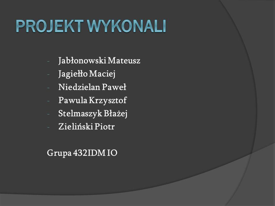 - Jabłonowski Mateusz - Jagiełło Maciej - Niedzielan Paweł - Pawula Krzysztof - Stelmaszyk Błażej - Zieliński Piotr Grupa 432IDM IO