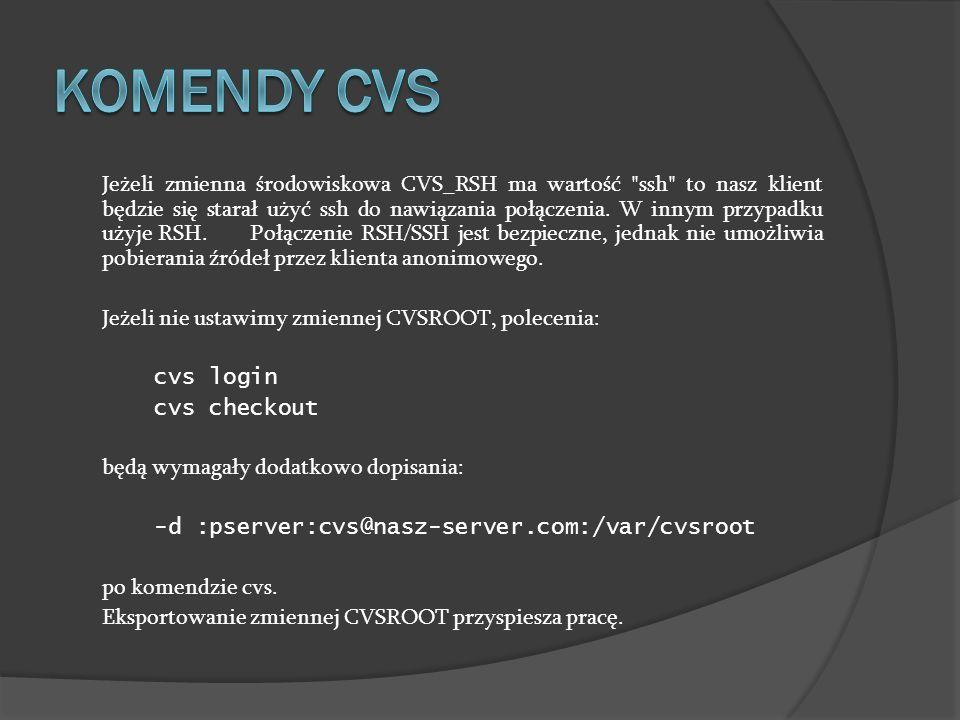 Jeżeli zmienna środowiskowa CVS_RSH ma wartość