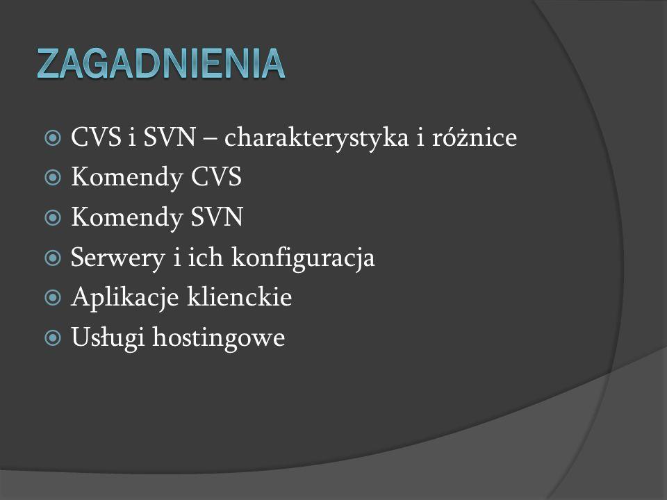 CVS i SVN – charakterystyka i różnice Komendy CVS Komendy SVN Serwery i ich konfiguracja Aplikacje klienckie Usługi hostingowe