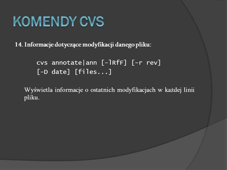 14. Informacje dotyczące modyfikacji danego pliku: cvs annotate|ann [-lRfF] [-r rev] [-D date] [files...] Wyświetla informacje o ostatnich modyfikacja
