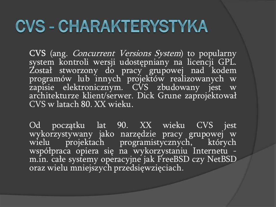 CVS (ang. Concurrent Versions System) to popularny system kontroli wersji udostępniany na licencji GPL. Został stworzony do pracy grupowej nad kodem p