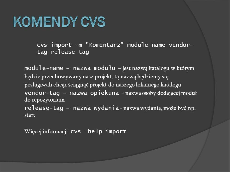 cvs import -m