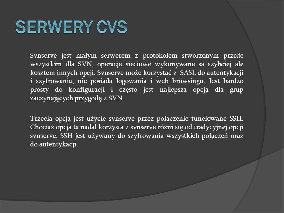 Svnserve jest małym serwerem z protokołem stworzonym przede wszystkim dla SVN, operacje sieciowe wykonywane sa szybciej ale kosztem innych opcji. Svns
