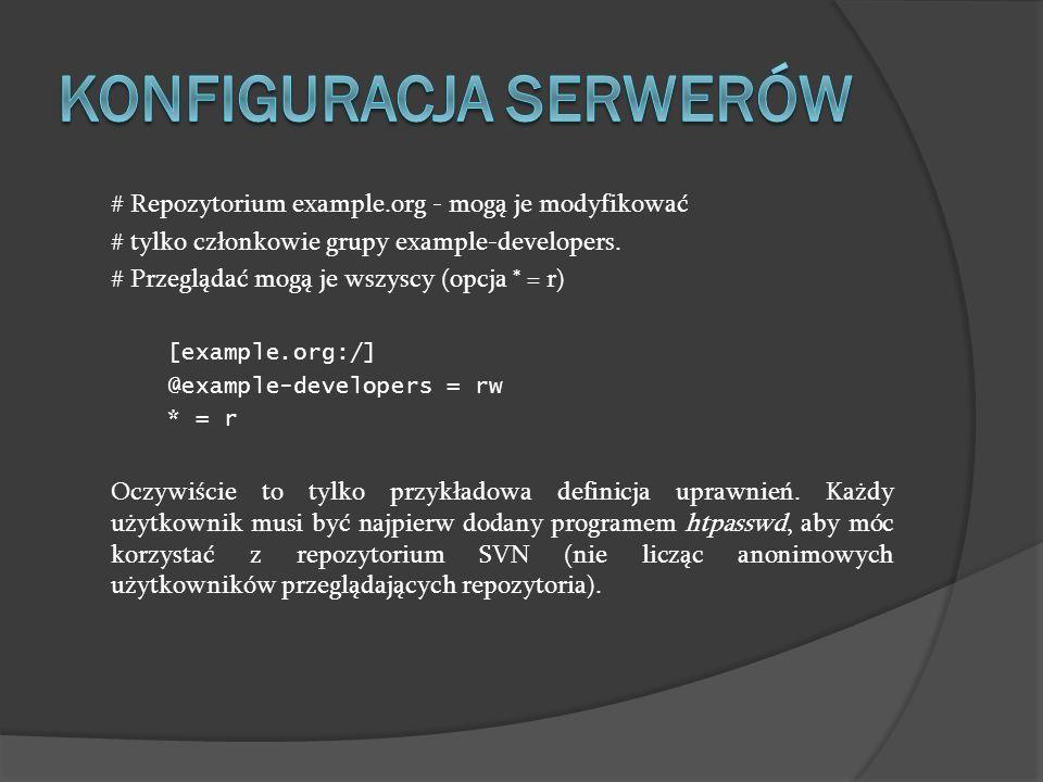 # Repozytorium example.org - mogą je modyfikować # tylko członkowie grupy example-developers. # Przeglądać mogą je wszyscy (opcja * = r) [example.org: