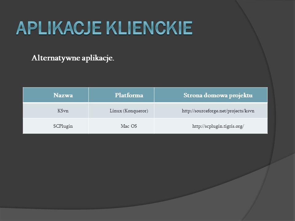 Alternatywne aplikacje. NazwaPlatformaStrona domowa projektu KSvnLinux (Konqueror)http://sourceforge.net/projects/ksvn SCPluginMac OShttp://scplugin.t