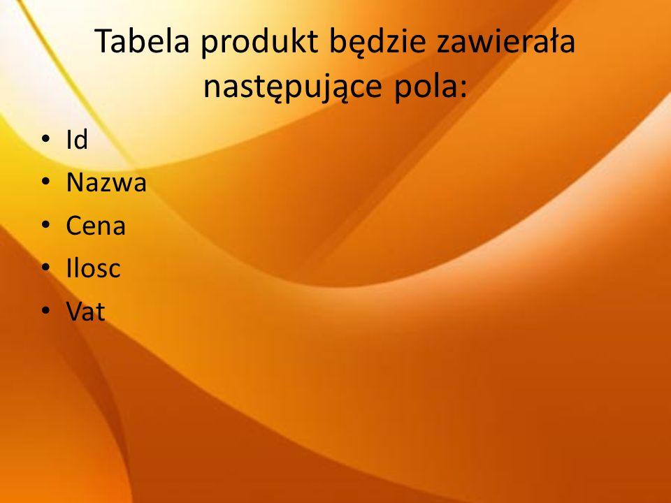 Tabela produkt będzie zawierała następujące pola: Id Nazwa Cena Ilosc Vat