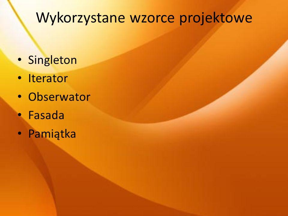 Wykorzystane wzorce projektowe Singleton Iterator Obserwator Fasada Pamiątka