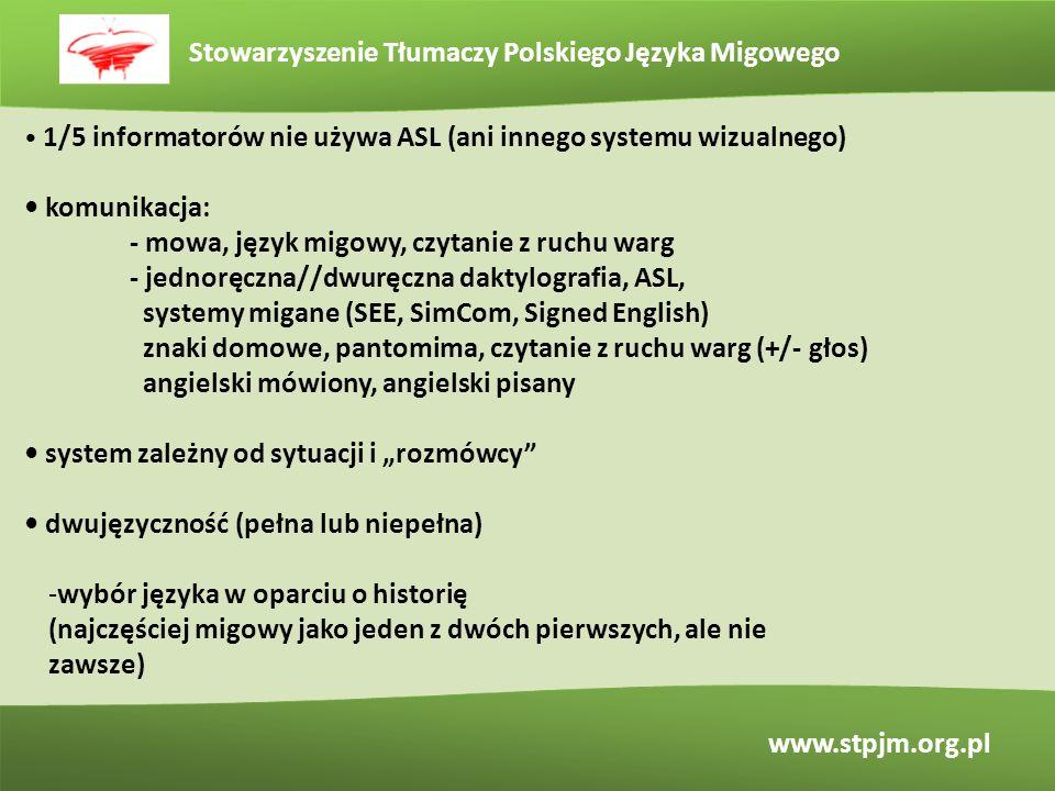 Stowarzyszenie Tłumaczy Polskiego Języka Migowego www.stpjm.org.pl 1/5 informatorów nie używa ASL (ani innego systemu wizualnego) komunikacja: - mowa,