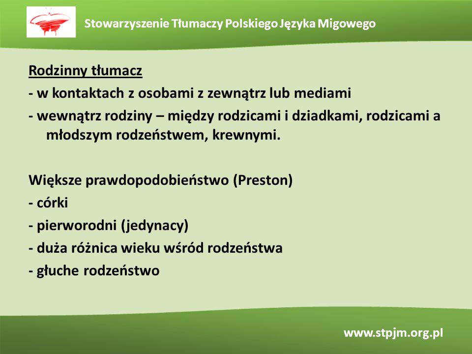 Stowarzyszenie Tłumaczy Polskiego Języka Migowego www.stpjm.org.pl Rodzinny tłumacz - w kontaktach z osobami z zewnątrz lub mediami - wewnątrz rodziny