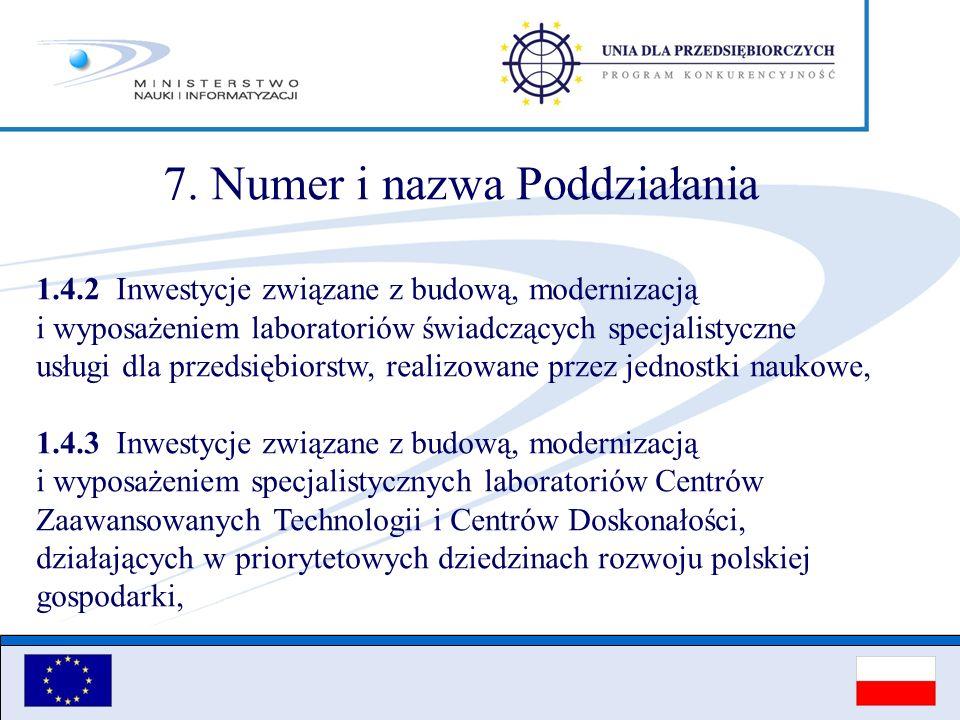 7. Numer i nazwa Poddziałania 1.4.2 Inwestycje związane z budową, modernizacją i wyposażeniem laboratoriów świadczących specjalistyczne usługi dla prz