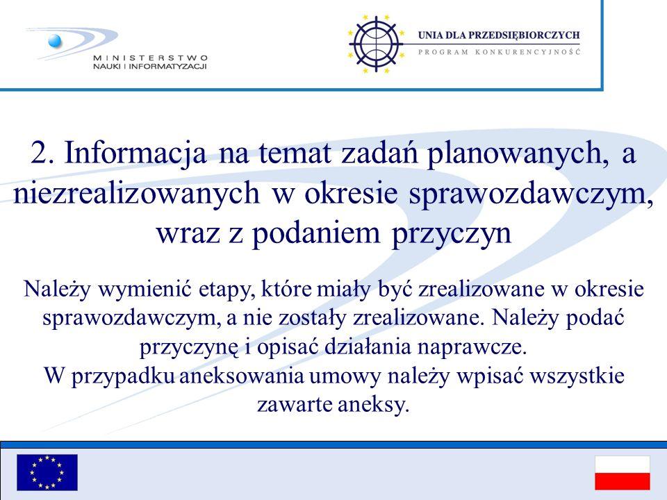 2. Informacja na temat zadań planowanych, a niezrealizowanych w okresie sprawozdawczym, wraz z podaniem przyczyn Należy wymienić etapy, które miały by