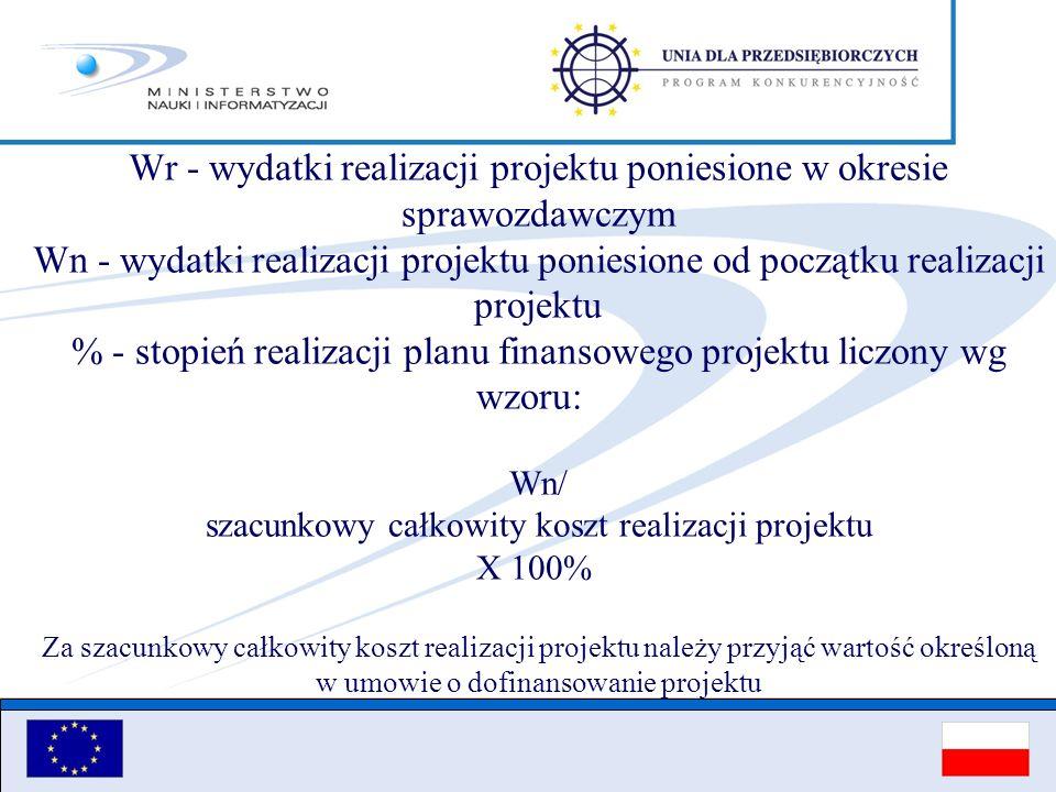 Wr - wydatki realizacji projektu poniesione w okresie sprawozdawczym Wn - wydatki realizacji projektu poniesione od początku realizacji projektu % - s