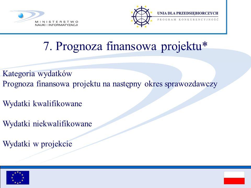 7. Prognoza finansowa projektu* Kategoria wydatków Prognoza finansowa projektu na następny okres sprawozdawczy Wydatki kwalifikowane Wydatki niekwalif