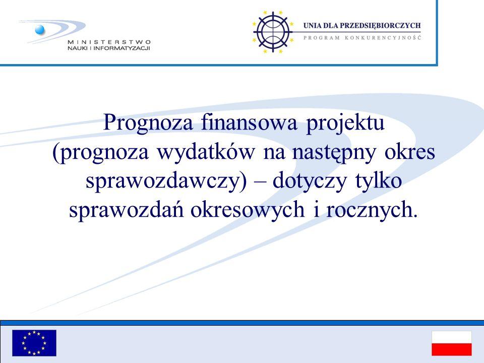 Prognoza finansowa projektu (prognoza wydatków na następny okres sprawozdawczy) – dotyczy tylko sprawozdań okresowych i rocznych.