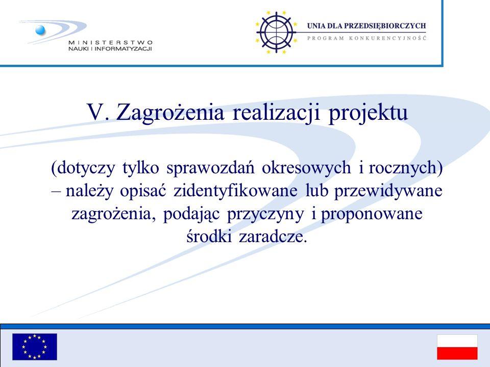 V. Zagrożenia realizacji projektu (dotyczy tylko sprawozdań okresowych i rocznych) – należy opisać zidentyfikowane lub przewidywane zagrożenia, podają