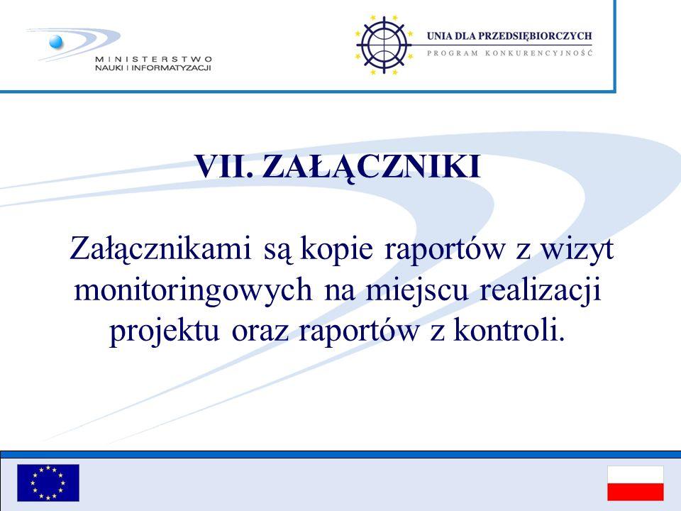 VII. ZAŁĄCZNIKI Załącznikami są kopie raportów z wizyt monitoringowych na miejscu realizacji projektu oraz raportów z kontroli.