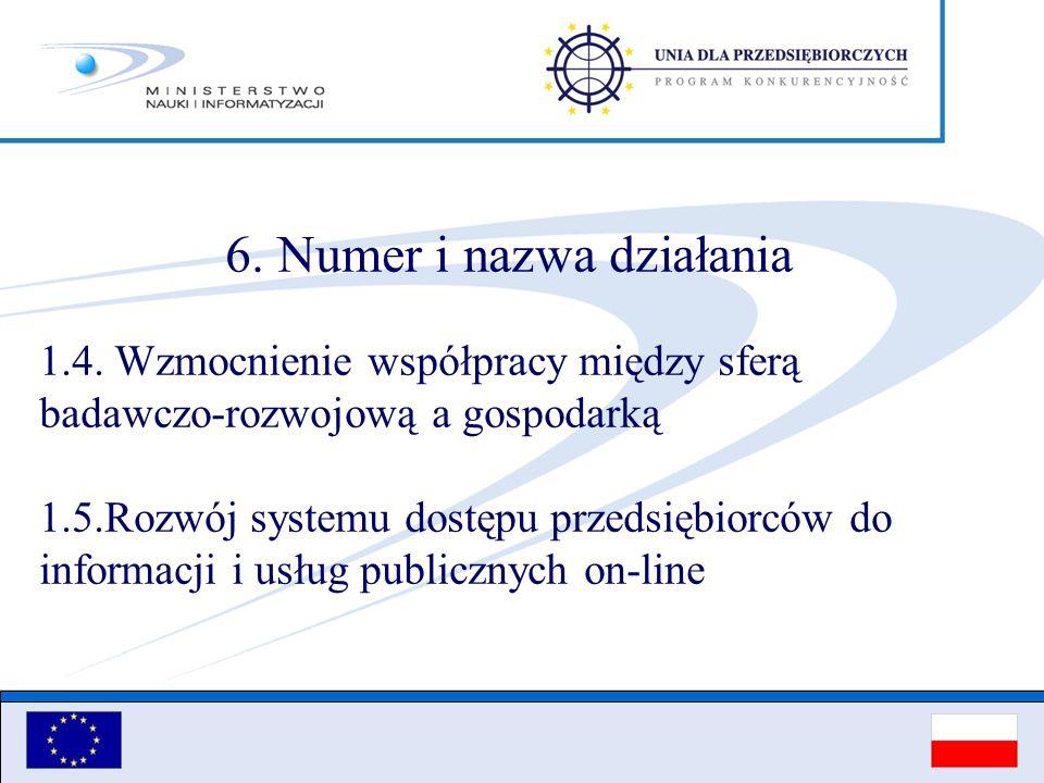 6. Numer i nazwa działania 1.4. Wzmocnienie współpracy między sferą badawczo-rozwojową a gospodarką 1.5.Rozwój systemu dostępu przedsiębiorców do info