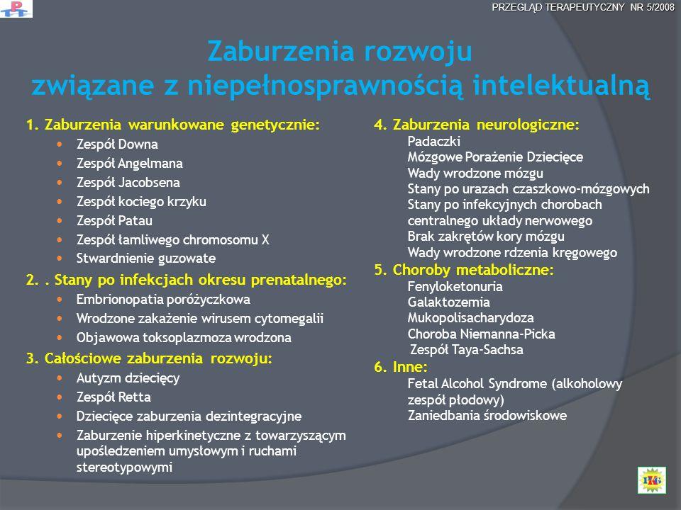 Zaburzenia rozwoju związane z niepełnosprawnością intelektualną 1. Zaburzenia warunkowane genetycznie: Zespół Downa Zespół Angelmana Zespół Jacobsena