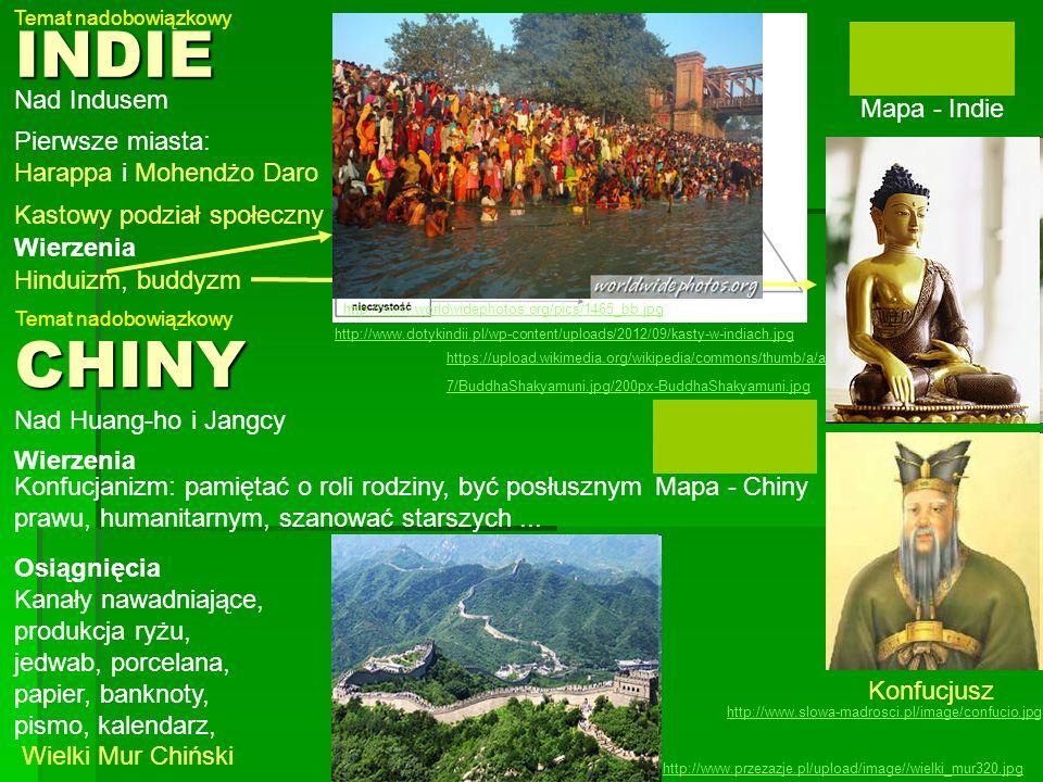 Konfucjusz http://www.slowa-madrosci.pl/image/confucio.jpgINDIE Mapa - Indie Nad Indusem Pierwsze miasta: Harappa i Mohendżo Daro Kastowy podział społ