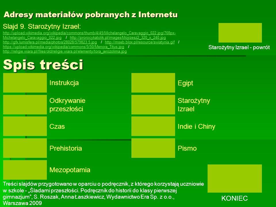 Adresy materiałów pobranych z Internetu Slajd 9. Starożytny Izrael: http://upload.wikimedia.org/wikipedia/commons/thumb/4/45/Michelangelo_Caravaggio_0