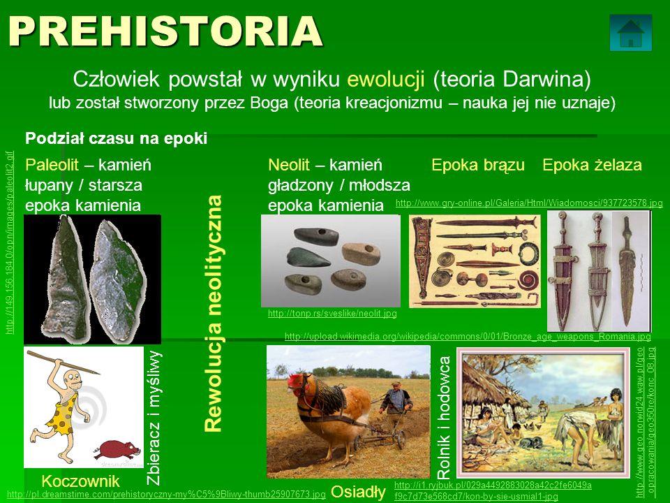 PREHISTORIA Człowiek powstał w wyniku ewolucji (teoria Darwina) lub został stworzony przez Boga (teoria kreacjonizmu – nauka jej nie uznaje) Podział c