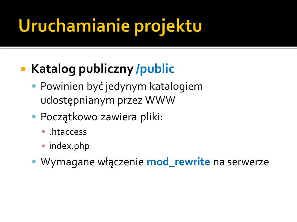Katalog publiczny /public Powinien być jedynym katalogiem udostępnianym przez WWW Początkowo zawiera pliki:.htaccess index.php Wymagane włączenie mod_rewrite na serwerze