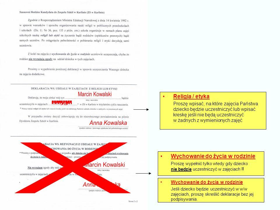 Religia / etyka Proszę wpisać, na które zajęcia Państwa dziecko będzie uczestniczyć lub wpisać kreskę jeśli nie będą uczestniczyć w żadnych z wymienio