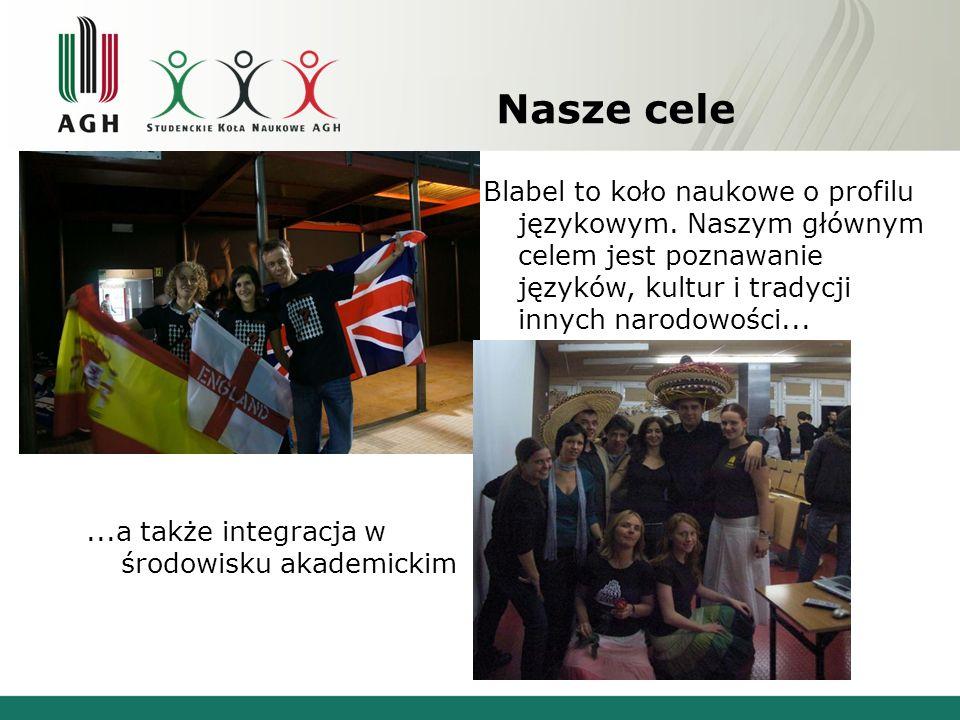 Nasze cele Blabel to koło naukowe o profilu językowym. Naszym głównym celem jest poznawanie języków, kultur i tradycji innych narodowości......a także
