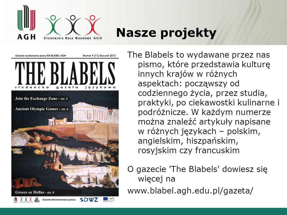 Nasze projekty The Blabels to wydawane przez nas pismo, które przedstawia kulturę innych krajów w różnych aspektach: począwszy od codziennego życia, p