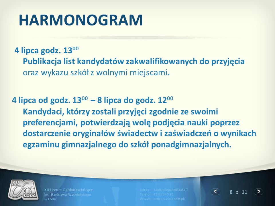 8 z 11 XII Liceum Ogólnokształcące im.