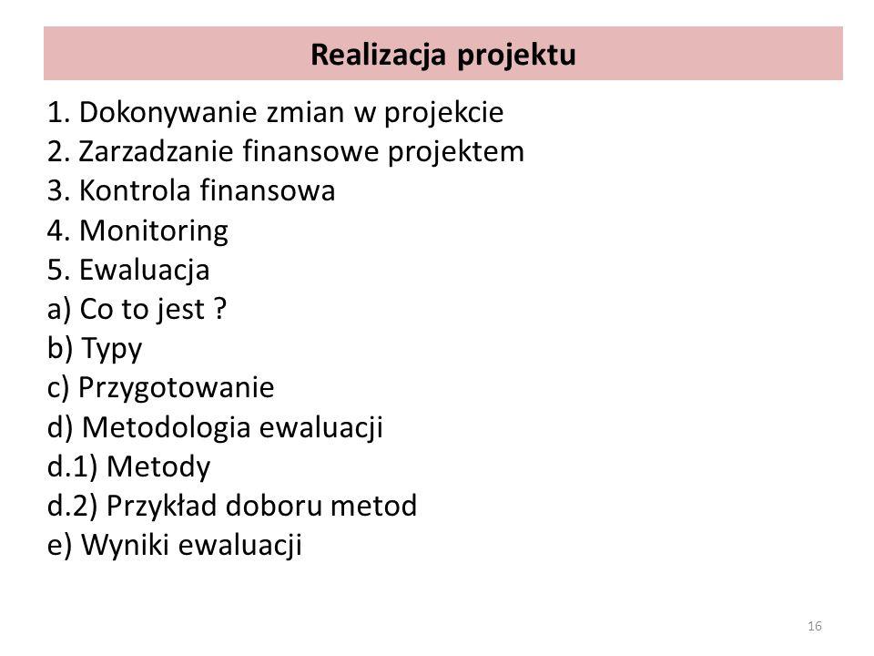 Realizacja projektu 1. Dokonywanie zmian w projekcie 2. Zarzadzanie finansowe projektem 3. Kontrola finansowa 4. Monitoring 5. Ewaluacja a) Co to jest