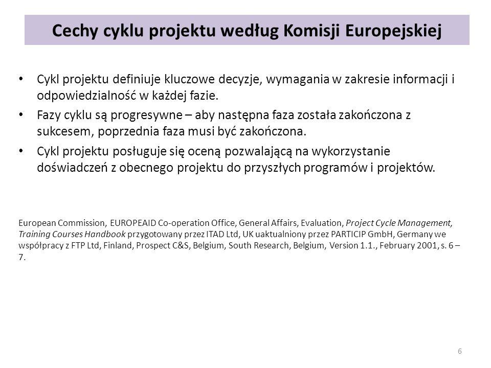 Cechy cyklu projektu według Komisji Europejskiej Cykl projektu definiuje kluczowe decyzje, wymagania w zakresie informacji i odpowiedzialność w każdej