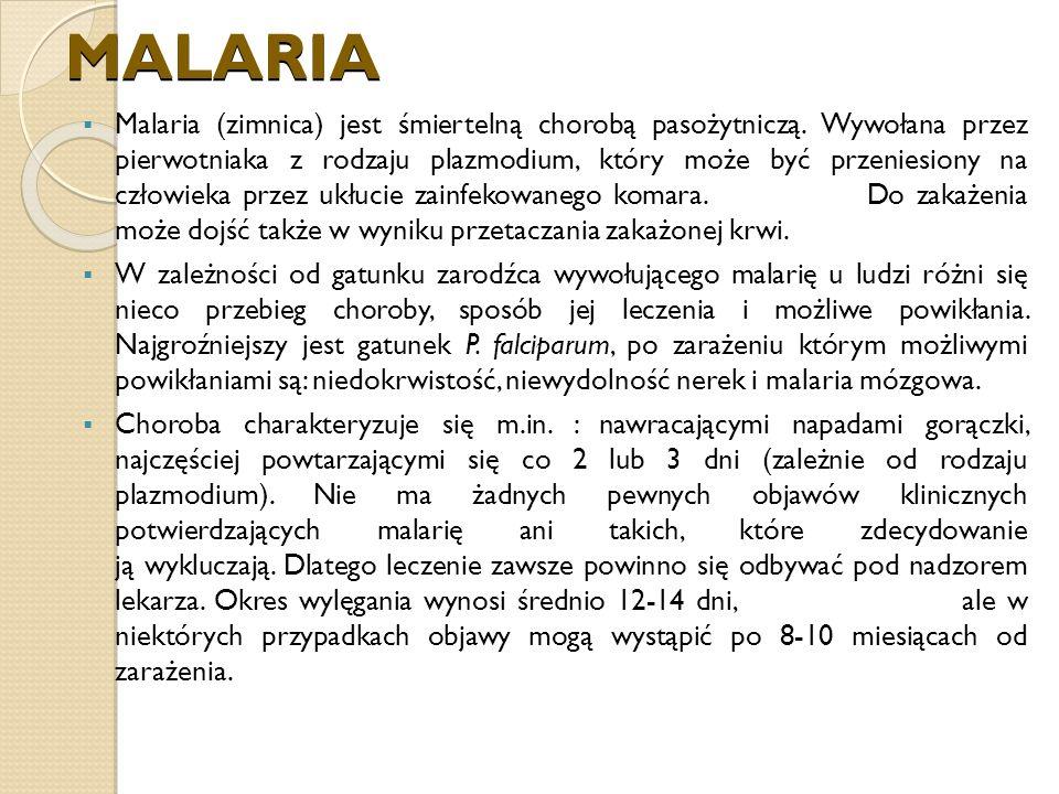 MALARIA Malaria (zimnica) jest śmiertelną chorobą pasożytniczą.