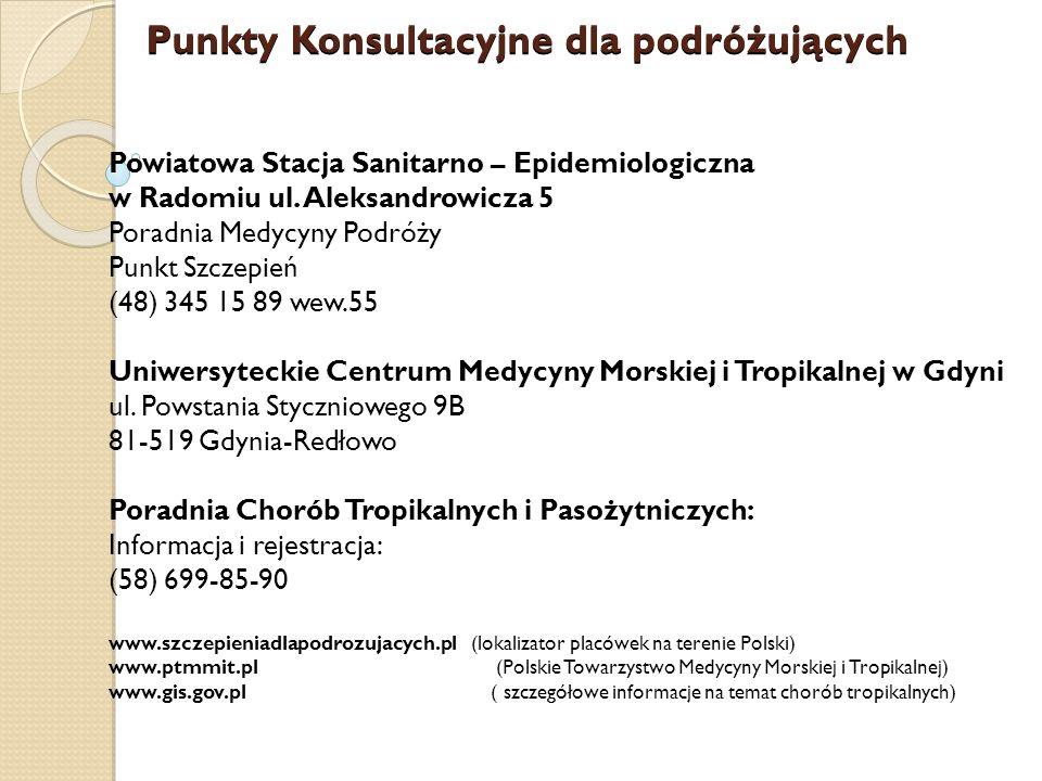 Punkty Konsultacyjne dla podróżujących Powiatowa Stacja Sanitarno – Epidemiologiczna w Radomiu ul.