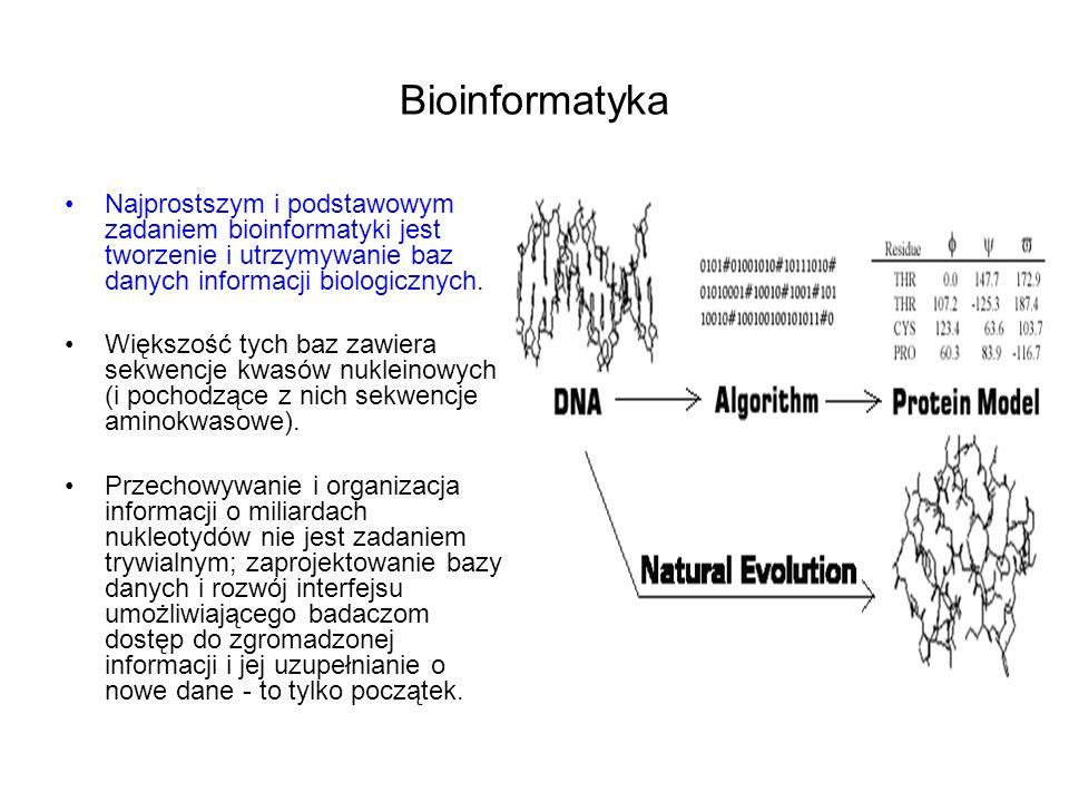 Bioinformatyka Najprostszym i podstawowym zadaniem bioinformatyki jest tworzenie i utrzymywanie baz danych informacji biologicznych. Większość tych ba