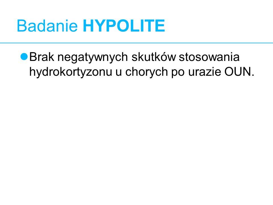11 Badanie HYPOLITE Brak negatywnych skutków stosowania hydrokortyzonu u chorych po urazie OUN.