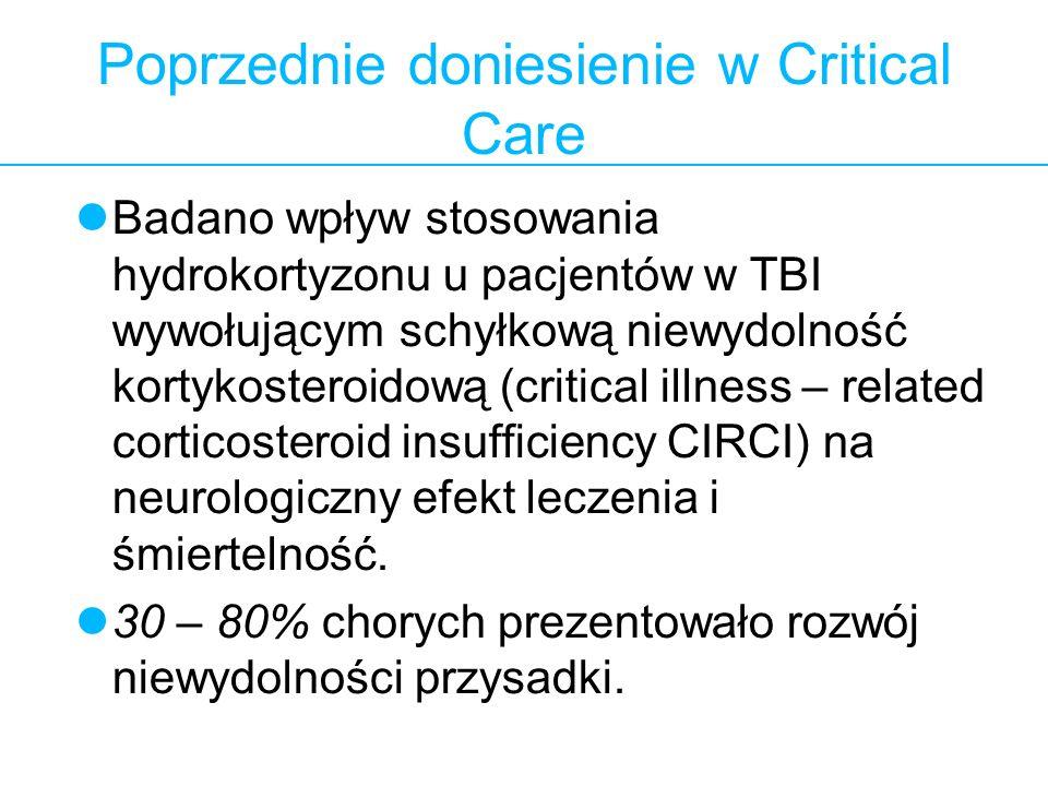 2 Poprzednie doniesienie w Critical Care Badano wpływ stosowania hydrokortyzonu u pacjentów w TBI wywołującym schyłkową niewydolność kortykosteroidową
