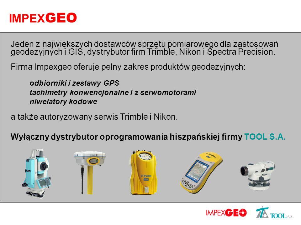 IMPEX GEO Jeden z największych dostawców sprzętu pomiarowego dla zastosowań geodezyjnych i GIS, dystrybutor firm Trimble, Nikon i Spectra Precision. F