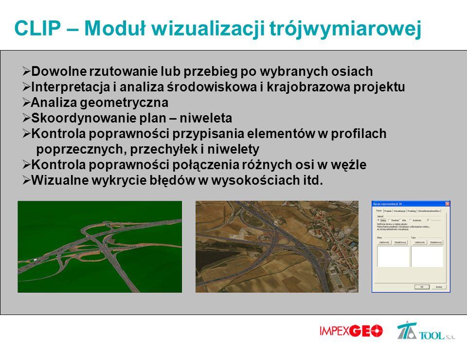 CLIP – Moduł wizualizacji trójwymiarowej Dowolne rzutowanie lub przebieg po wybranych osiach Interpretacja i analiza środowiskowa i krajobrazowa proje